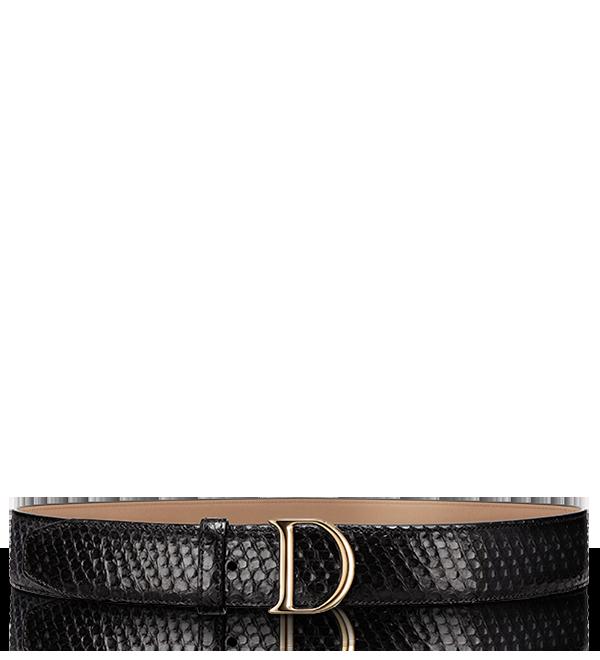"""D by Dior""黑色蟒蛇皮腰带"