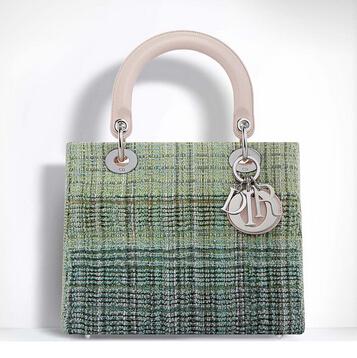 绿色粗花呢手提包
