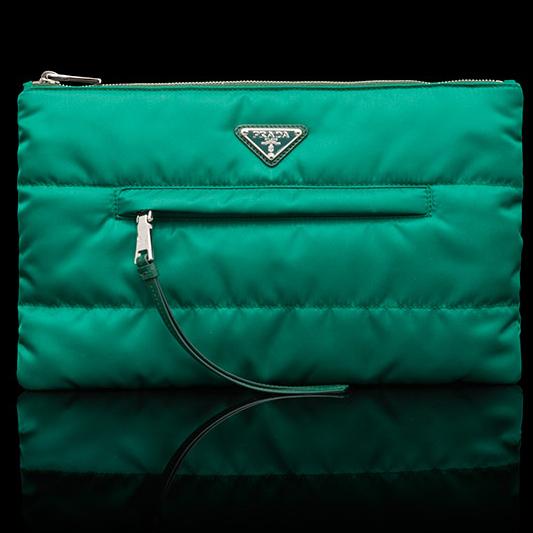 夹竹桃绿防水织物手包