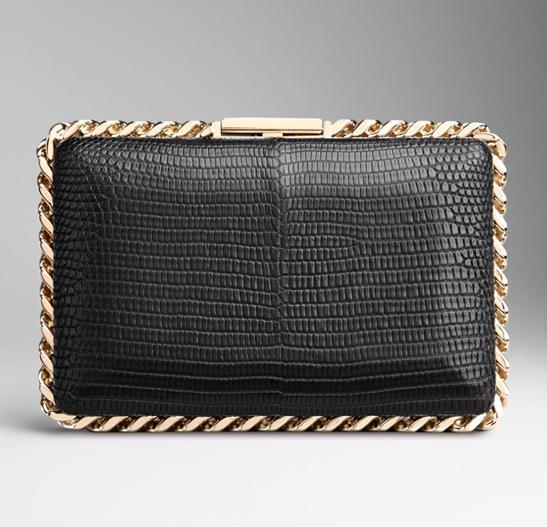 链带装饰蜥蜴皮箱式手拿包(黑色