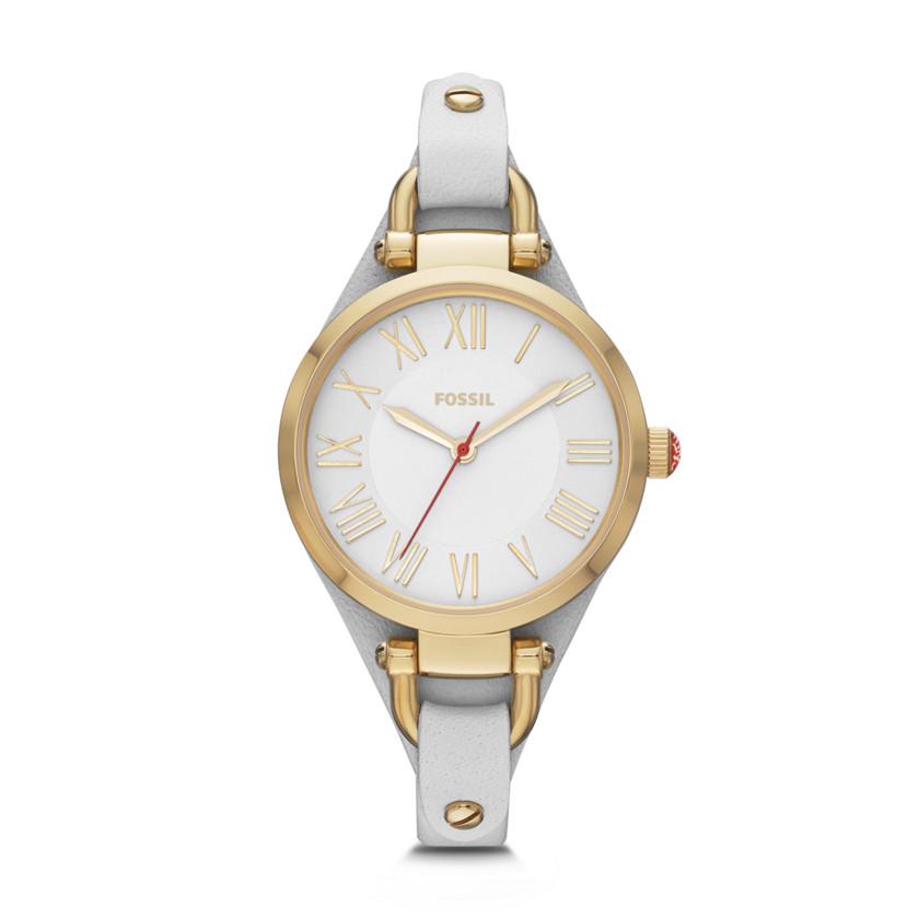 限量版 Georgia 三针皮革手表 - 白色