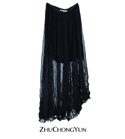 夏季黑半裙