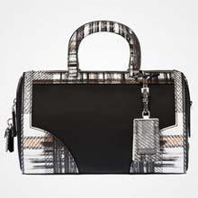 格子印花 Saffiano 皮革手提包