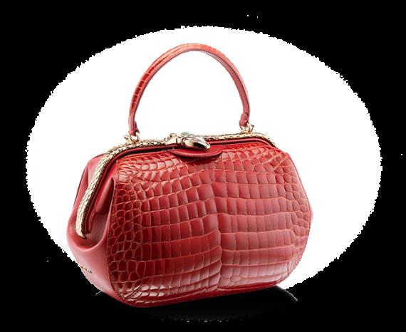 宝格丽红尖晶石亮面鳄鱼皮手提包