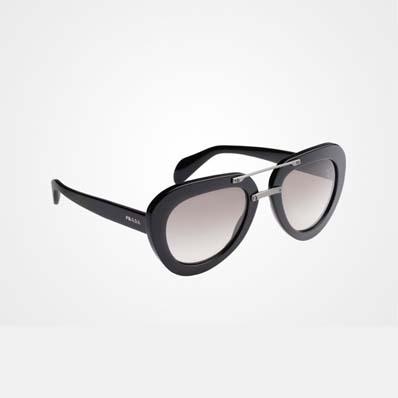 Raw 黑色醋酸纤维飞行员镜框太阳镜