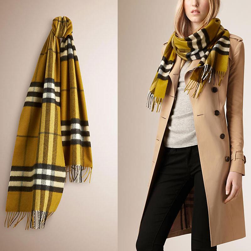 深莱姆色经典格纹羊绒围巾