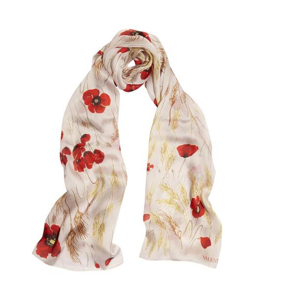 罂粟印花真丝雪纺围巾
