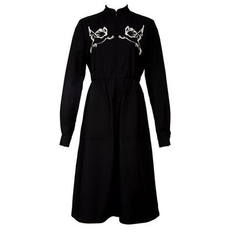 卜柯文黑色和平鸽连衣裙