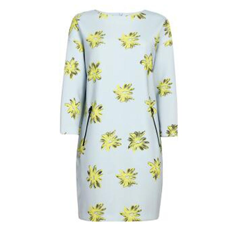 Lily2016春新款女装七分袖空气棉直筒显瘦印花连衣裙