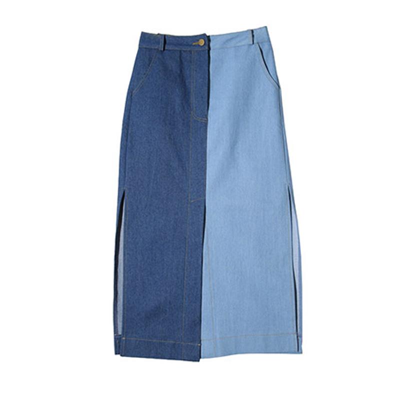 STYLENANDA 高开衩设计配色拼接半身长裙