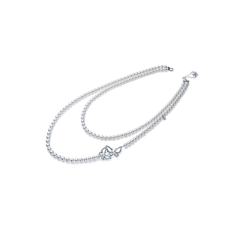 18K白金日本Akoya珍珠配钻石项链