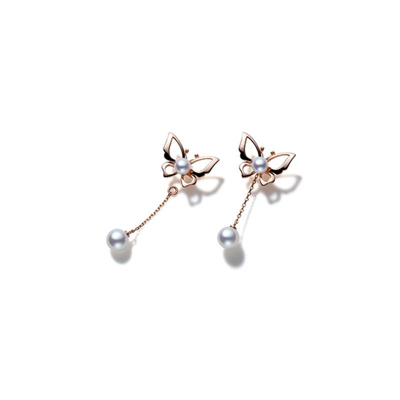 粉红金日本Akoya珍珠耳环