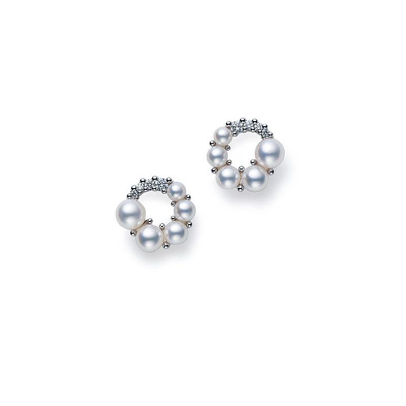 18K白金日本Akoya珍珠耳环