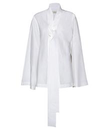 系带白衬衫