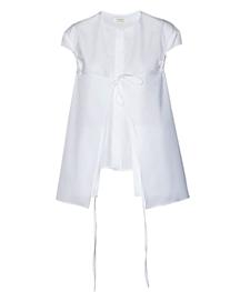 双层短袖白衬衫