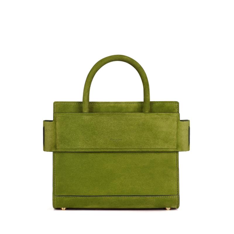 绿色麂皮迷你HORIZON手袋