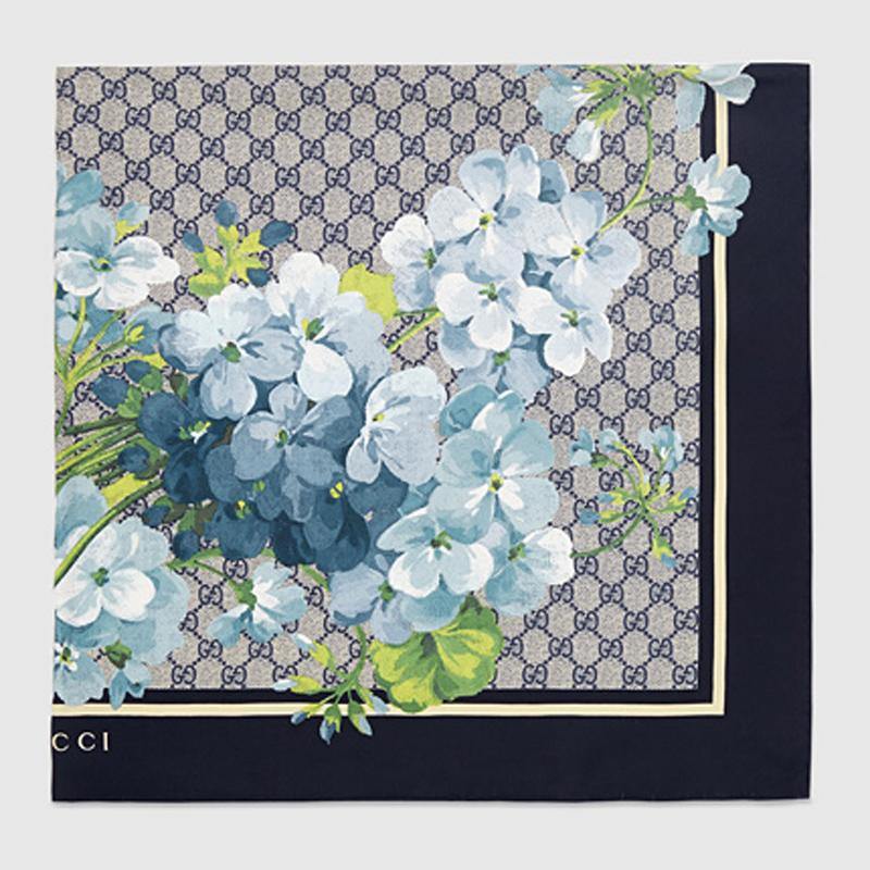 GG Blooms天竺葵印花真丝围巾
