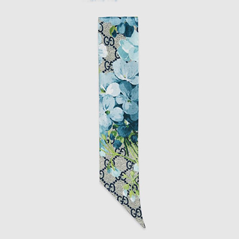 GG Blooms 天竺葵印花真丝颈巾