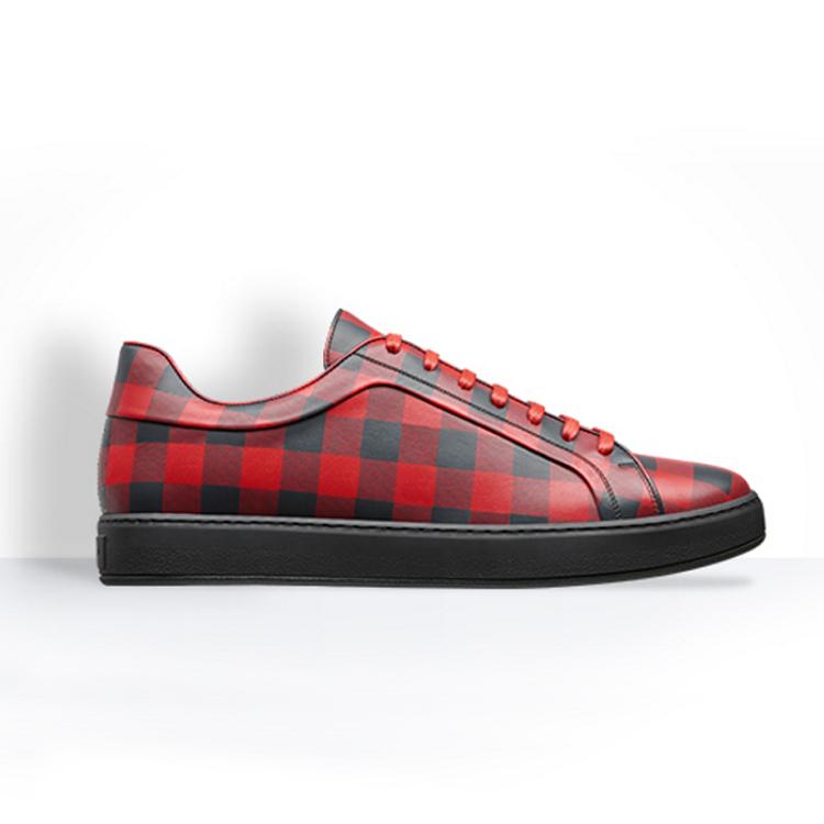 红色方格印花皮革跑鞋